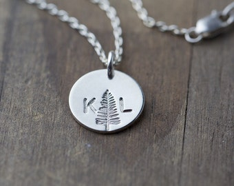 Custom Hand Stamped Initials Necklace | Summer Outdoors Personalized Gift |  Couples Necklace | Anniversary Gift Idea | Best Friends Gift