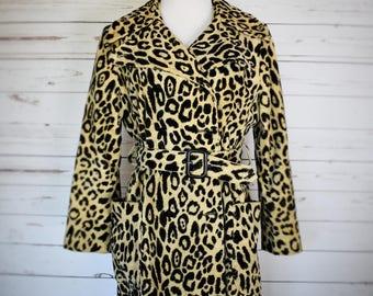 1960s Faux Fur Leopard Coat Animal Print Trench Corduroy Belted Waist Womens Vintage Medium