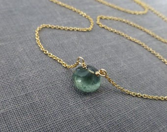 Tiny Moss Aquamarine Necklace, La La Land Necklace, Aquamarine Briolette, Gemstone Pendant, Onion Briolette, Green Aquamarine, March Birthst