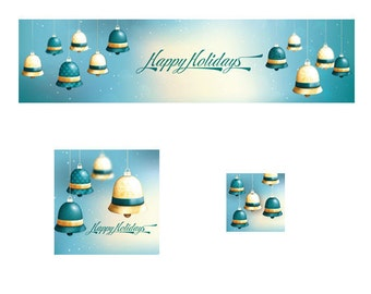 Blue Bell Ornaments Christmas Shop Premade Banner Cover Photo Shop Icon and Avatar Premade Holiday