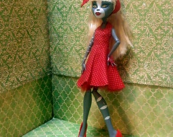 Monster High Doll Clothes - 50s Rockabilly Dress with headscarf! 2017-09-50s