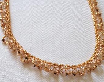 Rose Gold Oglala beadwoven Necklace, Rose gold Crystals and seed beaded Necklace, Dressy Necklace, wedding jewelry