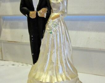 Vintage Bride And Groom Wedding Cake Topper Ceramic