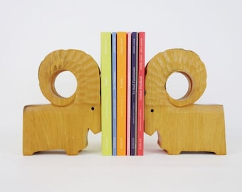 Pair of Vintage Ram Wooden Bookends