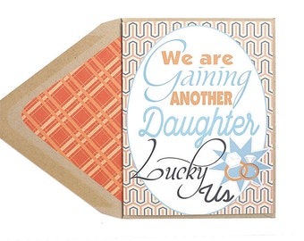 Gaining A Daughter - Congratulations, Wedding Card, Lesbian, Engaged, LGBT, for her, wife, girlfriend, same sex