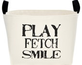 Play Fetch Smile Dog Toy Storage Basket, Small or Large