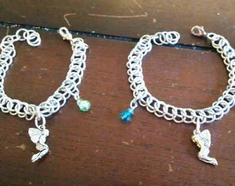 Friendship or Sister Chainmaile Fairy charm bracelet set