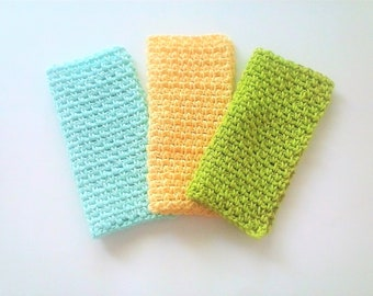 Baby Washcloths - Dishcloths Set - Spa Cloths - Spring Pastels - Set of 3 in Beach Glass, Yellow, and Lime