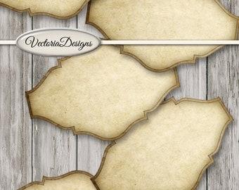 Blank Vintage Labels blank digital download apothecary jars add text paper crafting instant download digital collage sheet - VDLAVI1451