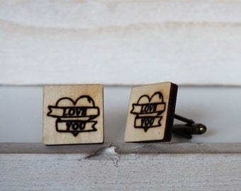 Wedding Cufflinks Love You Tattoo Style Cuff Links Love You Wedding Gift Laser Cut