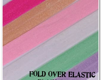 2 Metres of Fold Over Elastic - Plain Glitter