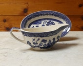 Classic 1970's Willow Pattern Gravy Boat and Saucer