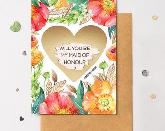 Scratch Off Heart Card - Ask Maid Of Honor - Write Your Own Message - Floral 5