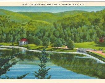 Lake on the Cone Estate Blowing Rock North Carolina Vintage Linen Postcard approx 1930's-1940's