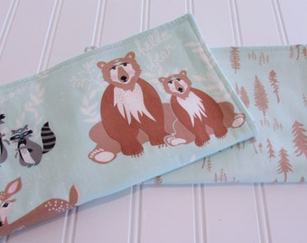 Burp Cloths/Set of Two/Hello Bear/Cotton Front/Organic Cotton Double Flannel Backing