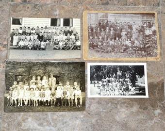 Antique School / Class Photos - Lot of 4 Different Photographs Circa 1890's-1930's - Victorian Cabinet Card / RPPC / Snapshot - All Original