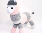 Arabella the Sock Alpaca - grey and peach striped - READY TO SHIP -  Llama
