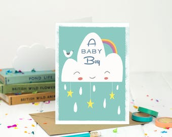 A Baby Boy Card - Birth Announcement Card - Baby Boy Card - Welcome Baby Card - Baby Shower - Congratulations - New Baby