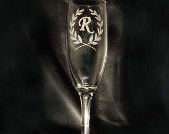 Personalized Monogram Champagne Toasting Flutes - Set of 2