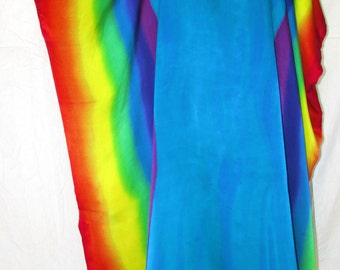 Rainbow turquoise Silk caftan,gifts for her, turquoise silk tunic, silk dress, hand painted silk dress, resort wear, beach coverup,