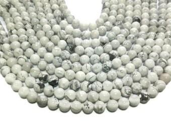 White Howlite - 8mm Round Bead - Full Strand - 48 beads - White and Gray Stone