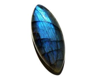 Labradorite Cabochon Gemstone (40mm x 17mm x 8mm) - Marquise Cabochon Stone- Blue Labradorite