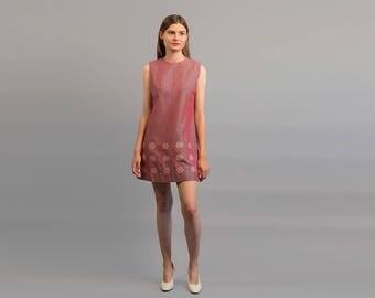 60s Silk Mini Dress / Vintage Embroidered Dress / Floral Mod Dress / Mexican Floral Embroidered Dress Δ size: M