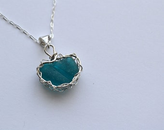 Teal/ Aqua Genuine Sea Glass From Seaham Hand Knitted Fine Silver Wire  Heart Pendant with 18 inch chain Necklace