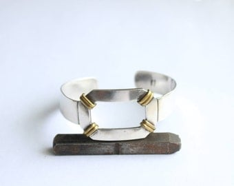 Vintage Modernist Mid Century Modern Gideon Sterling and Brass  Modern cuff Bracelet- FREE US Shipping