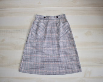Vintage 60s Mod Skirt, 1960s Plaid Skirt, Pockets, High Waisted, A Line, Midi