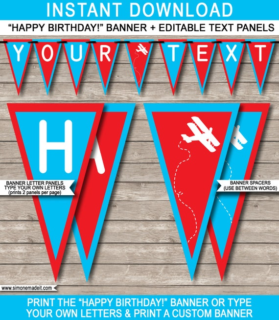 airplane birthday banner happy birthday banner custom banner