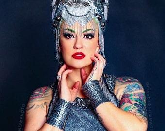 MARKED DOWN Metallic Silver Burning Man festival futuristic Art Deco goddess Queen Princess Warrior Crown Headdress Headpiece  costume