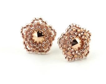 Rose Gold Stud Earrings- Bridesmaid Gift Jewelry- Flower Girl Gift- Flower Earrings- Swarovski Crystals Earrings- Rose Gold Bridal Earrings