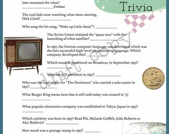 1957 Year Birthday Trivia Game | 60th Birthday | Instant Download