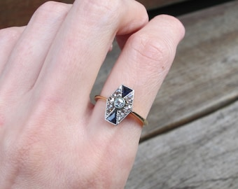 Art Deco Sapphire and Diamond Ring in 18k White and Yellow Gold