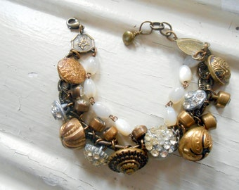 Victorian Button Bracelet, Assemblage Jewelry, Rhinestone, Mother of pearl Rosary, Shabby, Brass, Vintage Repurposed, Recycled, Upcycled