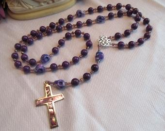 Purple Jade and Skulls Catholic Rosary