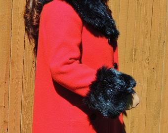 Vintage 1960 's Lipstick RED Wool Coat w Lush Ebony Fur Trim