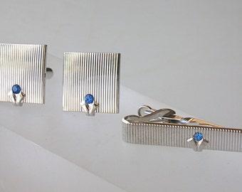 Swank Cuff LInks Set Tie Bar Silver Blue Sapphire Blue Stone Set Blue Rhinestone Cufflinks Tie Bar Modernist Wedding Set FREE US ship