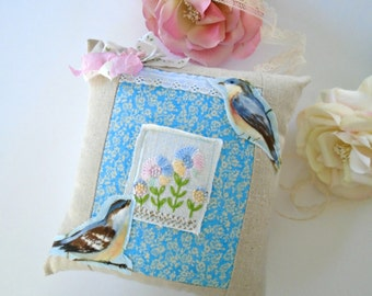 Sweet Birdie Pillow / Blue Bird Accent Pillow / Small Pillow / Embroidered Flowers / Pastel /Bird Decor / Shelf Pillow / Childs Pillow
