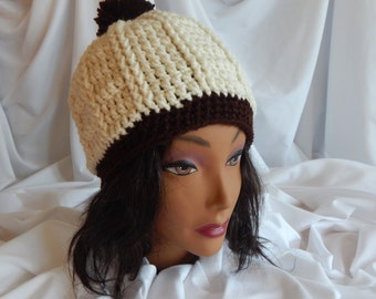 Crochet Pom Pom Hat Beanie - Brown and Off White