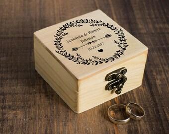 Personalized Ring Bearer Box, Wedding Box, Arrows Wedding Ring Box, Custom Ring Box, Еngagement Box, Natural Wedding Box Wedding Ring Holder