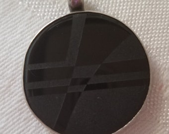 Vintage etched black glass geometric pendant set in sterling silver