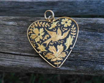 Vintage Damascene Heart Pendant. 24k Gold Leaf, 1960's. Made in Spain. Anniversary, Birthday Gift, Mom