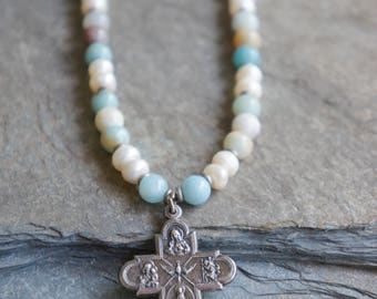 Blooming Meadows-Vintage cross necklace four way cross gemstone necklace pearl necklace assemblage jewelry F413-by French Feather Design.
