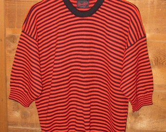 Mens Vintage 80s Red & Black Striped Sweater, Short Sleeve Pullover, Electric Knit Co, Crew Neck Sweater, Made in USA, Size XL