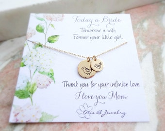 Mother of the Bride gift, Mother's necklace, hand stamped jewelry, mothers day gift, Gift for mom, Otis B, Mama bird, wedding jewelry