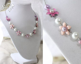 Lovely Faerie Bridal Necklace with Pink Blossoms, Lavender Pearls & Silver Filigree - Ready to Ship