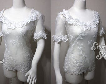 Handmade sheer lace top embroidered lingerie inspired by Christine Daae POTO