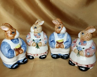 ONE Pair Vintage 1980s Otagiri Japan Bunny Rabbit Couple Salt & Pepper Shakers *eb